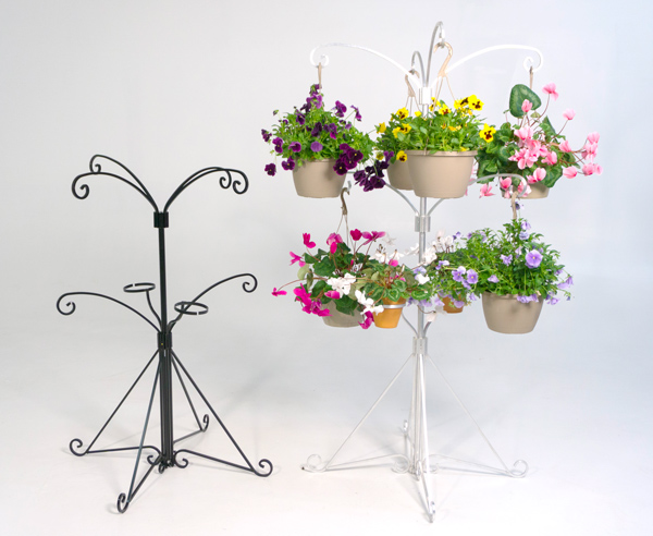 The Plant Tree's Free-Standing Kit in Studio - natural aluminum full setup and black half-height assembly