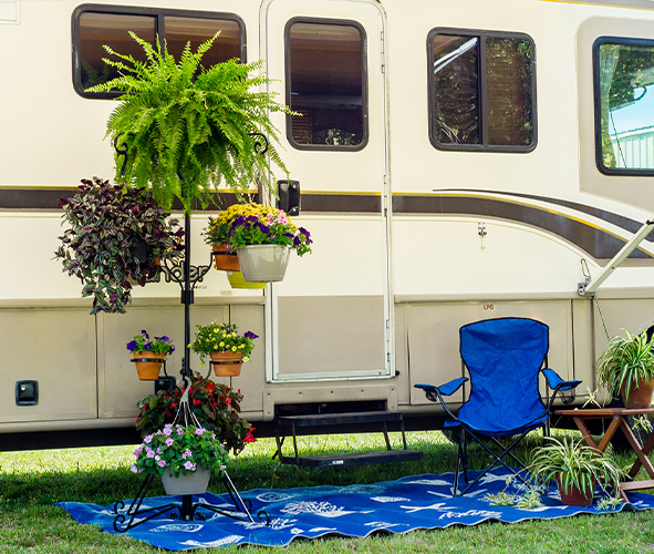 The Plant Tree in front of an RV
